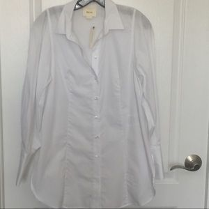 Maeve Anthro white blouse French cuff sz 4